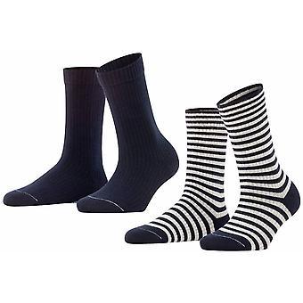 Esprit Sporty Stripe 2 Pack Socks - Marinha marinha
