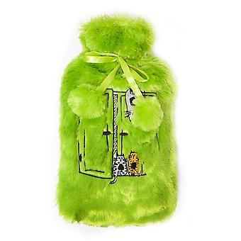 Bouteille d'eau chaude Biggdesign avec housse en peluche souple, 68 OZ / 2L Grand sac d'eau chaude lavable pour les crampes, les douleurs au cou et au dos, les pieds et les épaules (vert)