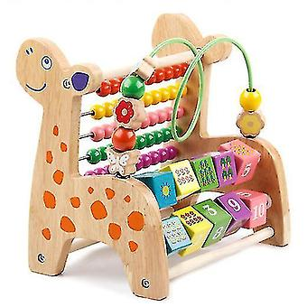 Deer Wooden Harp Xylophone Toys Baby Music Perception Education Sensory Ability(#02 Log Color)