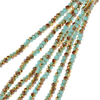 Crystal Beads, Faceted Rondelle 1.5x2.5mm, 2 Strands, Opaque Blue w/Half Champagne Luster
