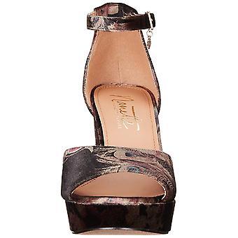 Nanette Lepore Womens Viola Leather Open Toe Ankle Strap Platform Pumps