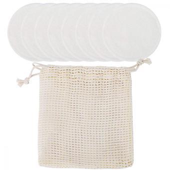 8 Pieces Reusable Cotton Pads Makeup Remover Cloth Facial Cleansing Disks, White