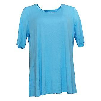 LOGO by Lori Goldstein Women's Top Elbow-Sleeve Swing Blue A379902