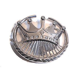 Bältesspänne - Krona med vita kristaller