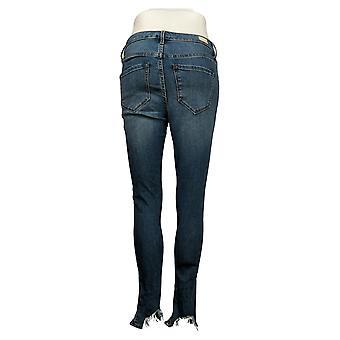 SkinnyGirl Women's Jeans Reg Mid-Rise Sharkbite Hem Skinny Blue 672194