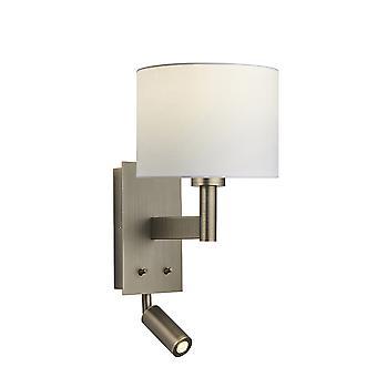 Wandlamp met lezing licht antieke bronzen plaat, vintage witte stof ronde schaduw
