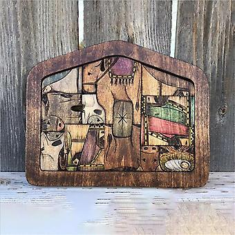 Betlehemes puzzle fából égetett design,Fa Jézus Puzzle Játék játék készlet