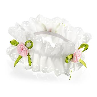 Cream Lace Ribbon & Pink Rose Flower Elasticated Hair Scrunchie