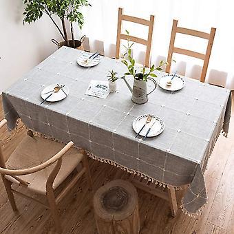 Spleiß Staubdichte Tischdecke, rechteckige Pompom Tischdecke, Tischdecke für Küchentisch und Couchtisch Dekoration, (140 * 140cm, grau kariert)