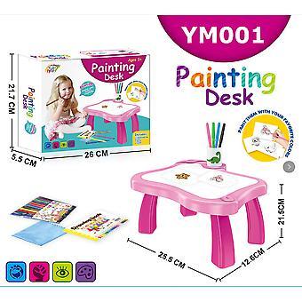 Bimirth Children's Intelligent Projection Painting Machine Illumination Early Education Drawing Board Table Color Drawing Board Children Graffiti Whi