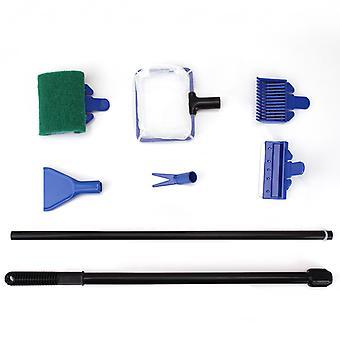 Kit de limpeza do aquário 6 em 1 com filé de peixe, ancinho de cascalho, clipe de planta, rodo, esponja e conector (6 em 1)