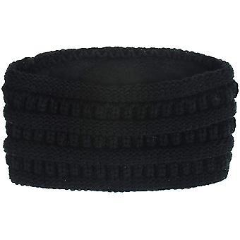 כיסוי ראש חישוק שיער חורף קלוע רחב שוליים שחור סרוגים אלסטי