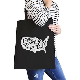 I Love USA Map Black Canvas Bag Cute Design Shoulder Bag For Her