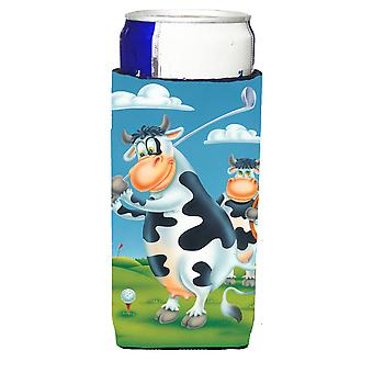 Cow playing Golf Michelob Ultra beverage Insulator for slim cans