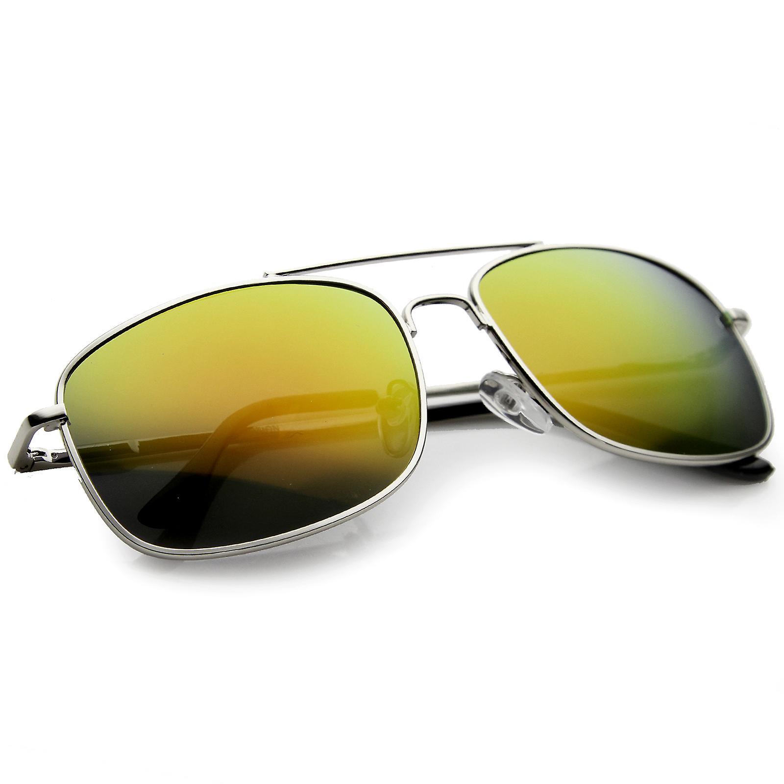 Classic Metal Crossbar Colored Mirror Square Lens Aviator Sunglasses 56mm
