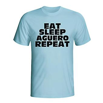 לאכול שינה אגוארו לחזור חולצת טריקו (כחול השמים)