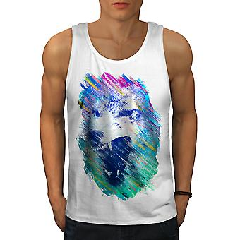 Wolf Face Angry Men WhiteTank Top | Wellcoda