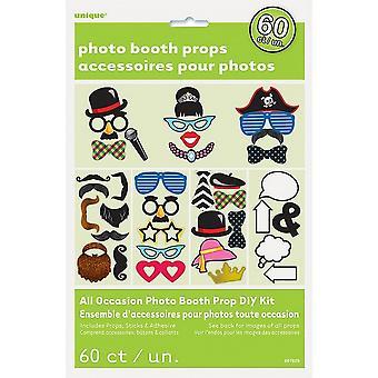 Unik partiet diverse 60 Pack Photo Booth rekvisitter Kit