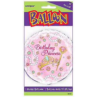 Unique Party 18 Inch Pink Birthday Princess Round Foil Balloon