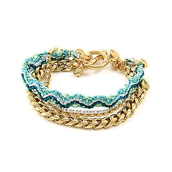 Ettika - White Crystal Friendship, Green Braided Cotton and Yellow Gold Plate 3738