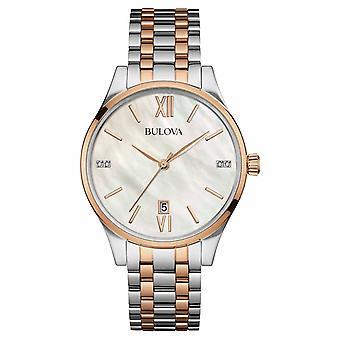 Bulova femmes deux tons, Or Rose, perle, Diamond Watch 98S150