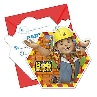 Bob of the Builder party invitation cards 6 piece children birthday theme party