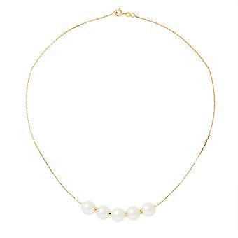 ネックレス ras 首淡水真珠とゴールド イエロー 750/1000 の女性 5 ホワイト 9 mm AA 文化