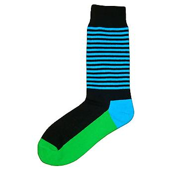 Bassin and Brown Thin Stripe Midcalf Socks - Black/Blue/Green