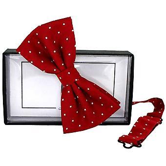 David Van Hagen Mini Polka Dot zijde Bow Tie - rood/wit