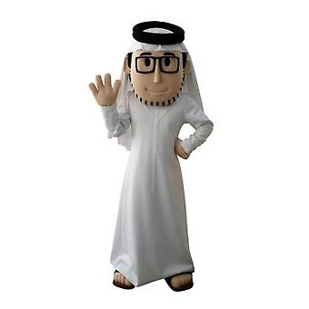 mascot bearded sultan SPOTSOUND, with a white outfit and glasses
