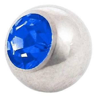 Piercing ersättare boll, blå sten | 1,6 x 4, 5 och 6 mm, kropp smycken