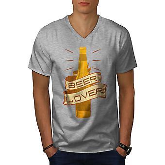 Beer Lover Men GreyV-Neck T-shirt | Wellcoda