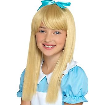 Alice in Wonderland Princess Wig Blonde Kids, Girls Fancy Dress, One Size