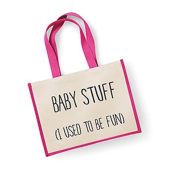 Large Jute Bag Baby Stuff I Used To Be Fun Pink