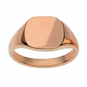 9ct Rose Gold 13x13mm solid plain cushion Signet Ring Size W