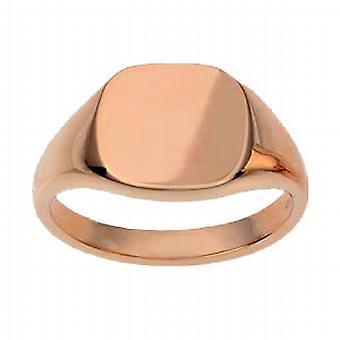 9ct Rose Gold 13x13mm tömör sima párna Signet Ring méret W