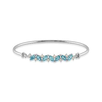 Classic Marquise Topaz & Opal Bangle in 925 Sterling Silver 253B009301925