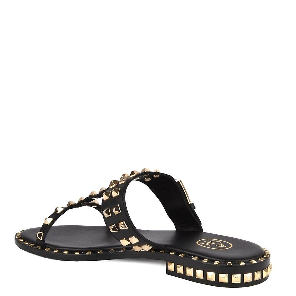 Ash PRINCE Sandals Black Leather & Gold Studs