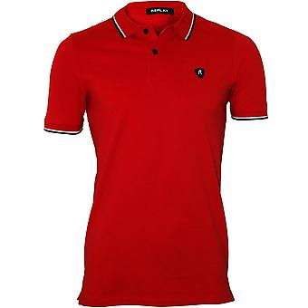 Replay-Kontrast Trim Pique Polo-Shirt, Vintage Red