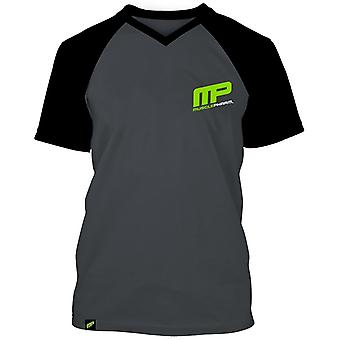 MusclePharm Mens MP Baseball V-neck Raglan T-Shirt - Gray/Black - gym fitness