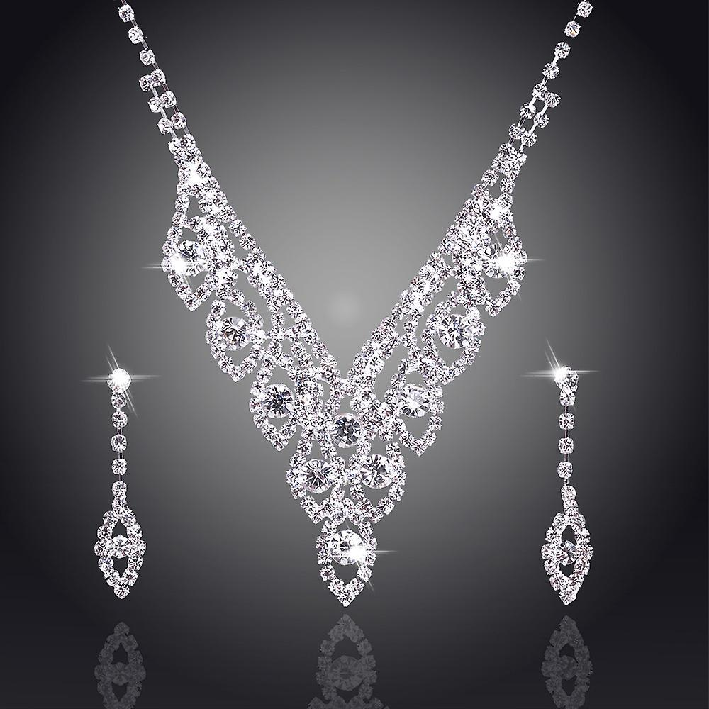 Silver Sparkling Crystal Wedding Bride Jewelry Set