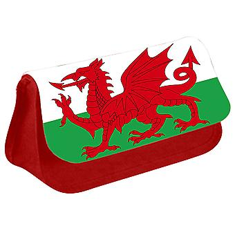 Wales Flag Printed Design Pencil Case for Stationary/Cosmetic - 0237 (Red) by i-Tronixs