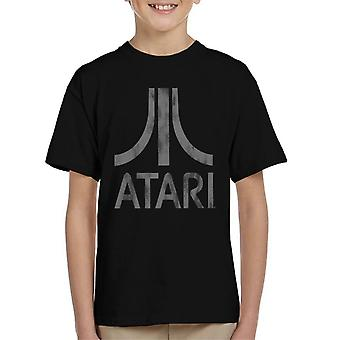 Atari Classic Logo Distressed Grey Kid's T-Shirt