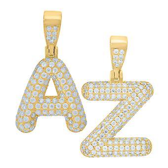 Premium 925 Sterling Silver lettera ciondolo mini oro
