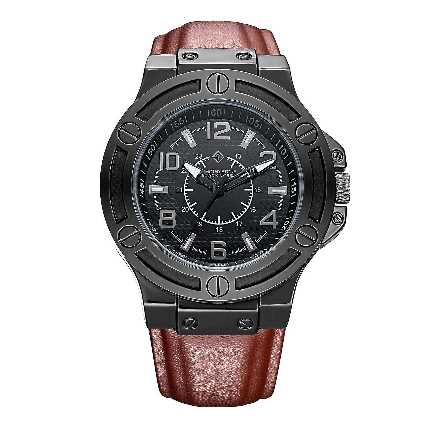 Timothy Stone Men's MANIS Black Watch and Brown Leather Strap