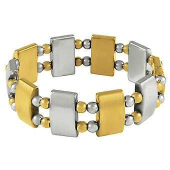 Eternal Collection Chemistry Silver And Gold Hematite Stretch Beaded Bracelet