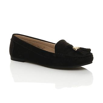 Ajvani Womens flad lav hæl kvast smart casual arbejde mokkasiner hyttesko sko