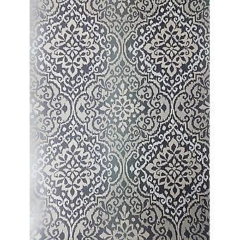 Black Glitter Damask Wallpaper Sparkle Retro Grey Textured Grandeco Delphi