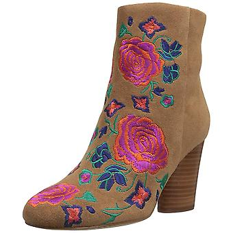 Brand - The Fix Women's Nash Floral Embroidery Oval Heel Ankle Bootie