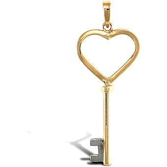 Jewelco London Ladies Solid 9ct Yellow Gold Key To My Heart Charm Pendant